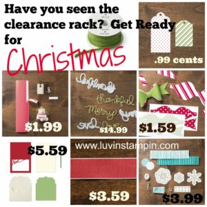 stampin up christmas card clearance products
