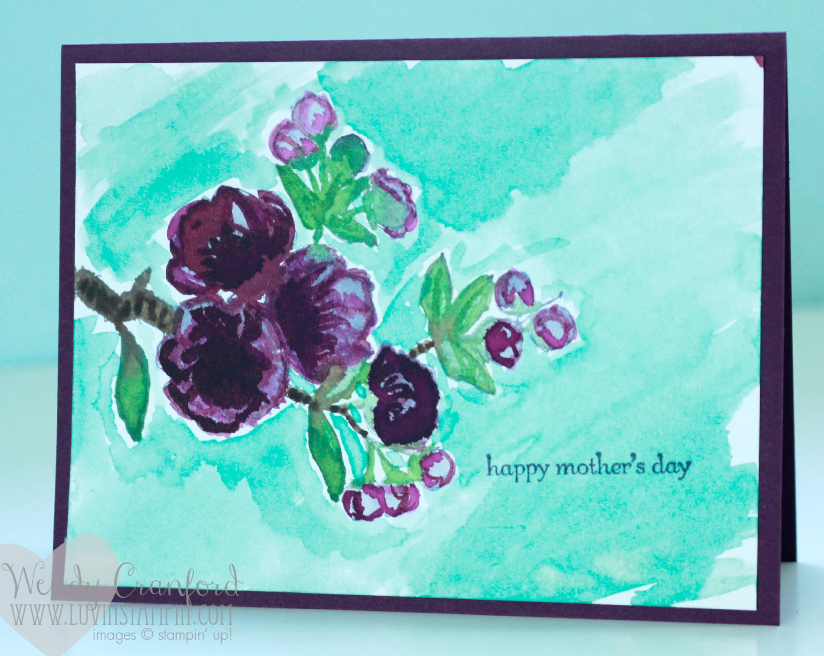 watercolor mothers day card