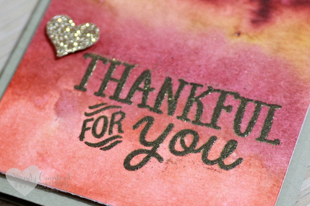 thankful for you watercolor wash emboss