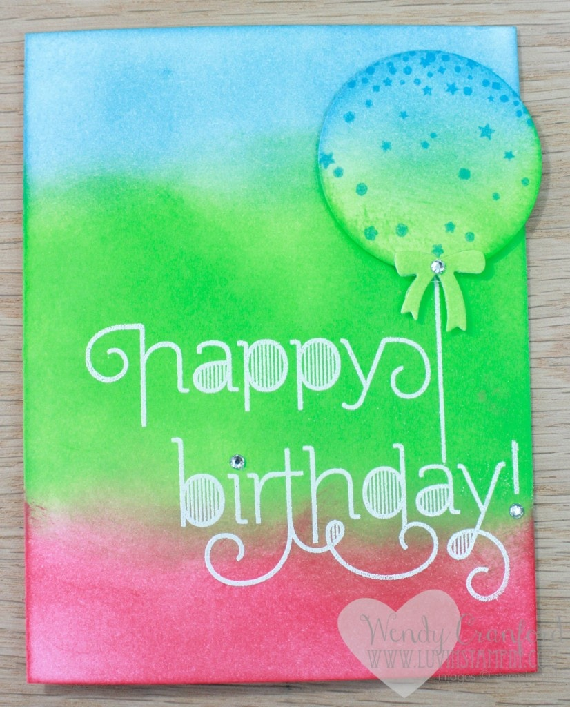 sponging and embossing technique birthday card