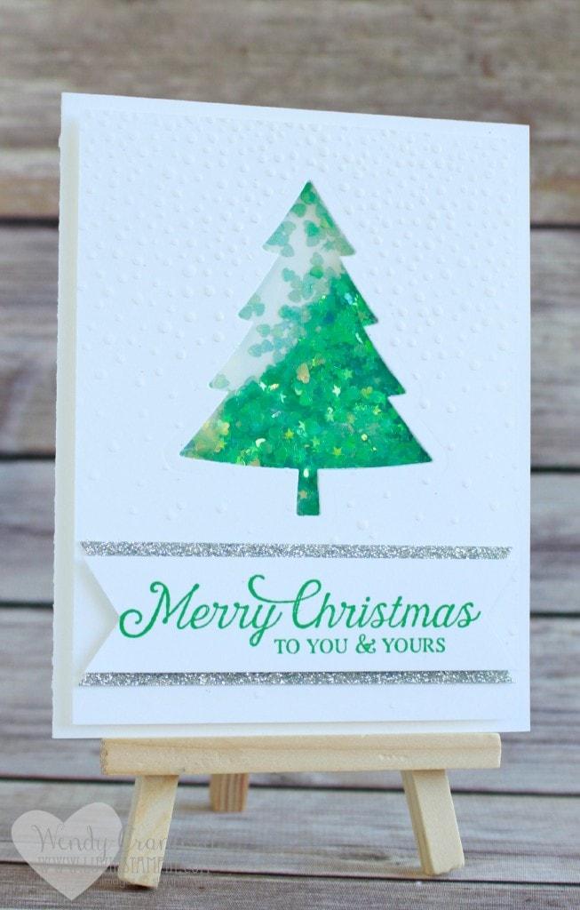 christmas tree shaker card