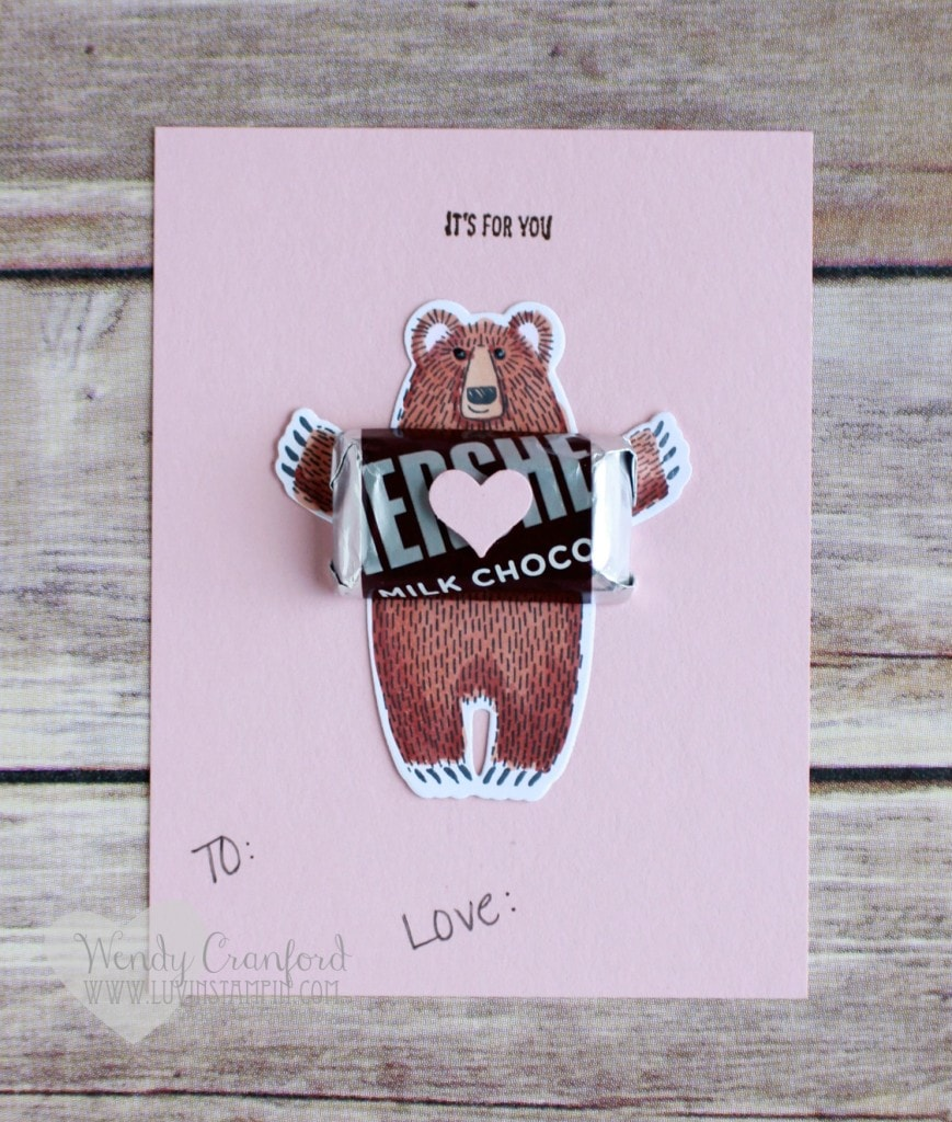 Simple bear valentine made using the Bear Hug stamp set and framelits from 2016 Stampin' UP! Occasions catalog. Created by Wendy Cranford luvinstampin.com