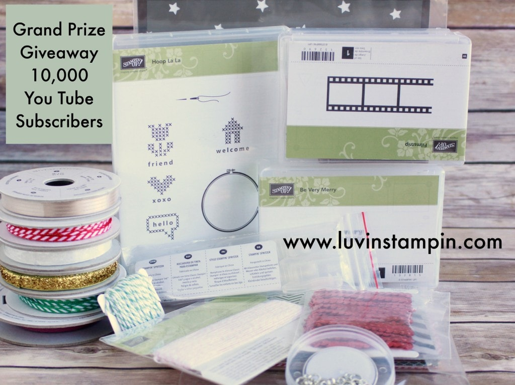 Stampin' UP! product giveaway. In celebration of reaching 10,000 You Tube subscribers I am giving away these stamp sets and crafting supplies for an entire we