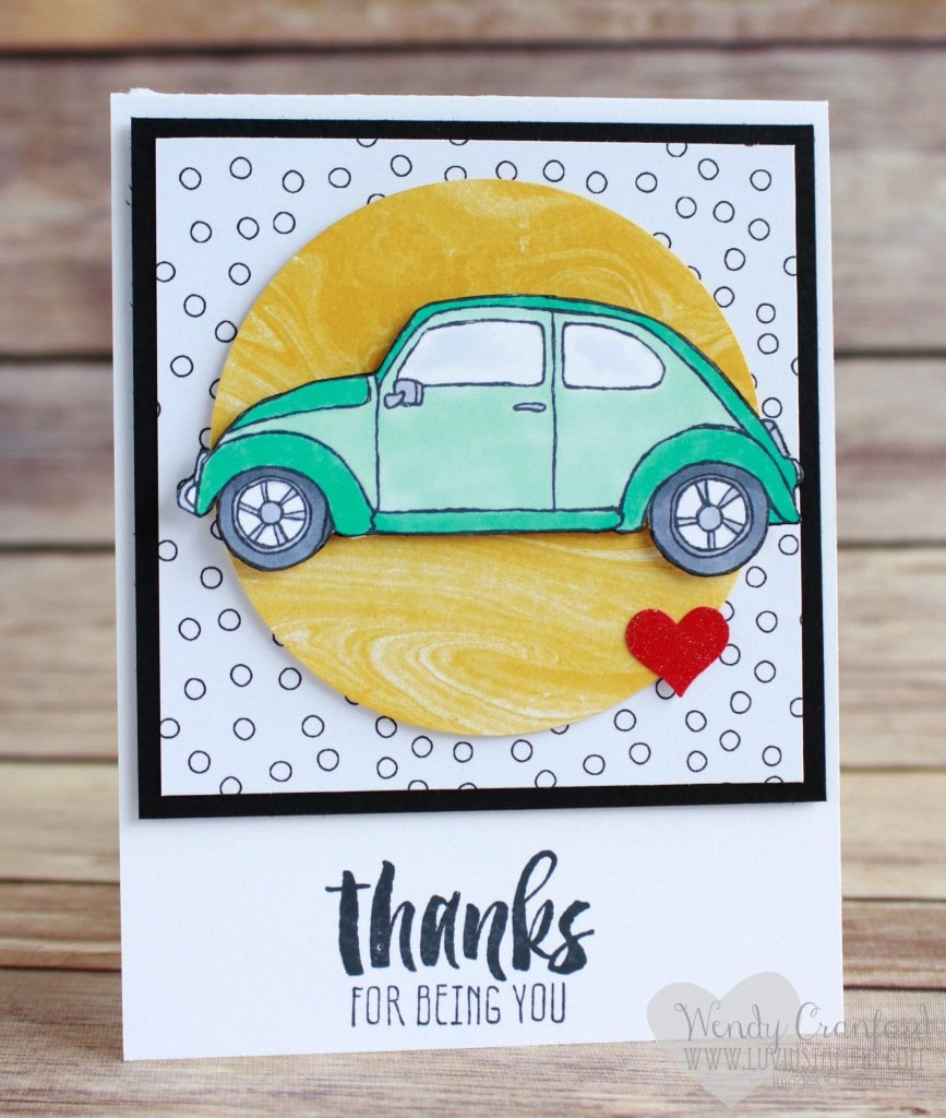 I created this card using the Beautiful Ride stamp set and the Suite Sayings stamp set from the 2016 Stampin' UP! Occasions catalog. Created by Wendy Cranford luvinstampin.com