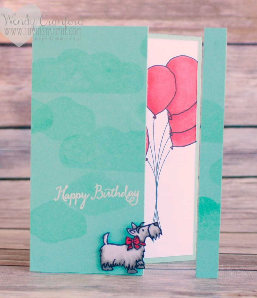 Hot Diggity Dog Balloon Birthday card created using the Balloon Celebration stamp set from Stampin' UP! Created for the #gdp023 challenge Wendy Cranford luvinstampin.com