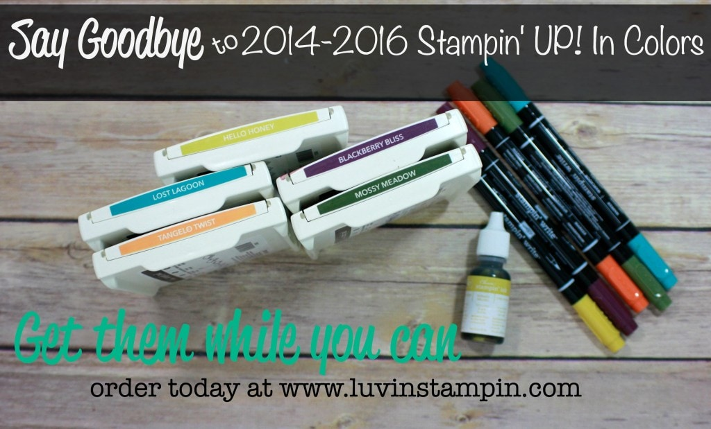 2014-2016 Stampin' UP! In Colors are retiring soon. Make sure you purchase them before they are gone. Wendy Cranford luvinstampin.com