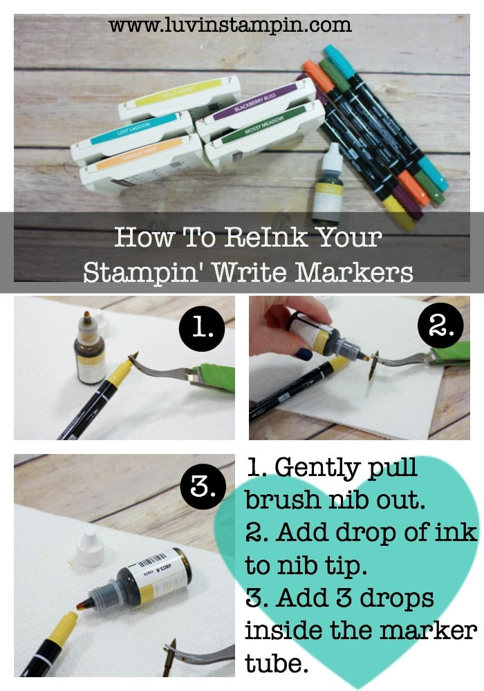 Learn how to reink your Stampin' Write markers from Stampin' UP!. Super simple. Wendy Cranford luvinstampin.com