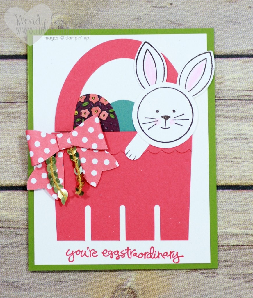 How to create an Easter basket punch art card. Featuring Friends & Flowers stamp set from Stampin' UP! Wendy Cranford www.luvinstampin.com