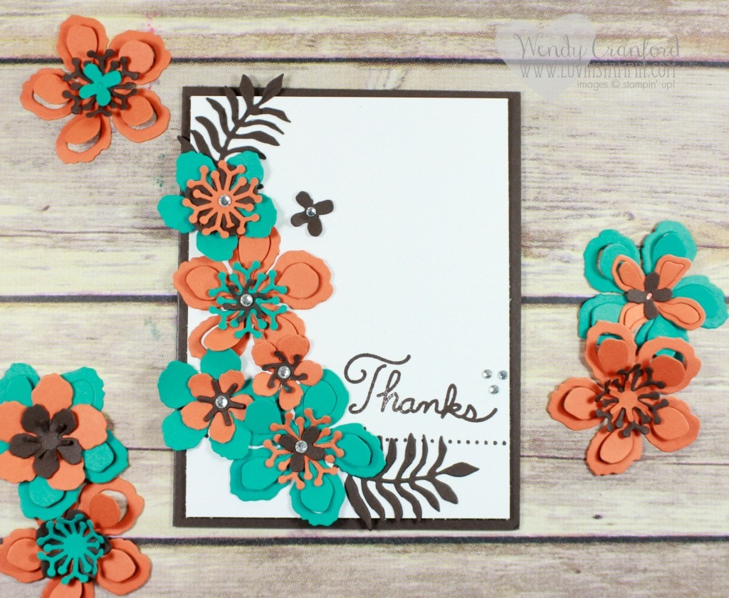I used Botanical Gardens Framelit set from Stampin' UP! to create this beautiful thank you card. Details on my blog at luvinstampin.com
