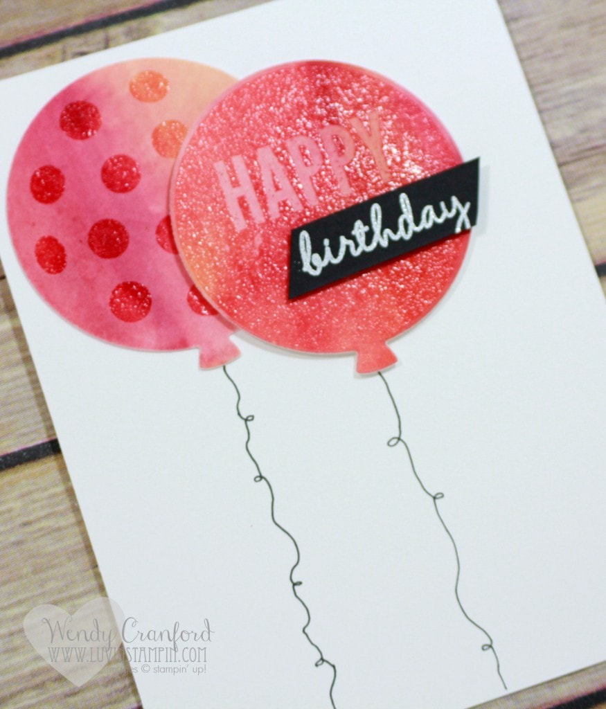 This is a fun watercolor background technique that uses clear heat embossing. Wendy Cranford luvinstampin.com