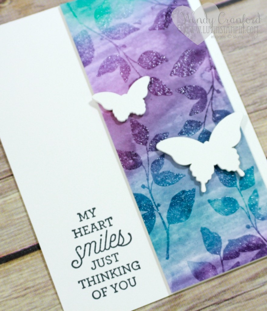 This is a fun watercolor background technique that uses clear heat embossing. Wendy Cranford www.luvinstampin.com