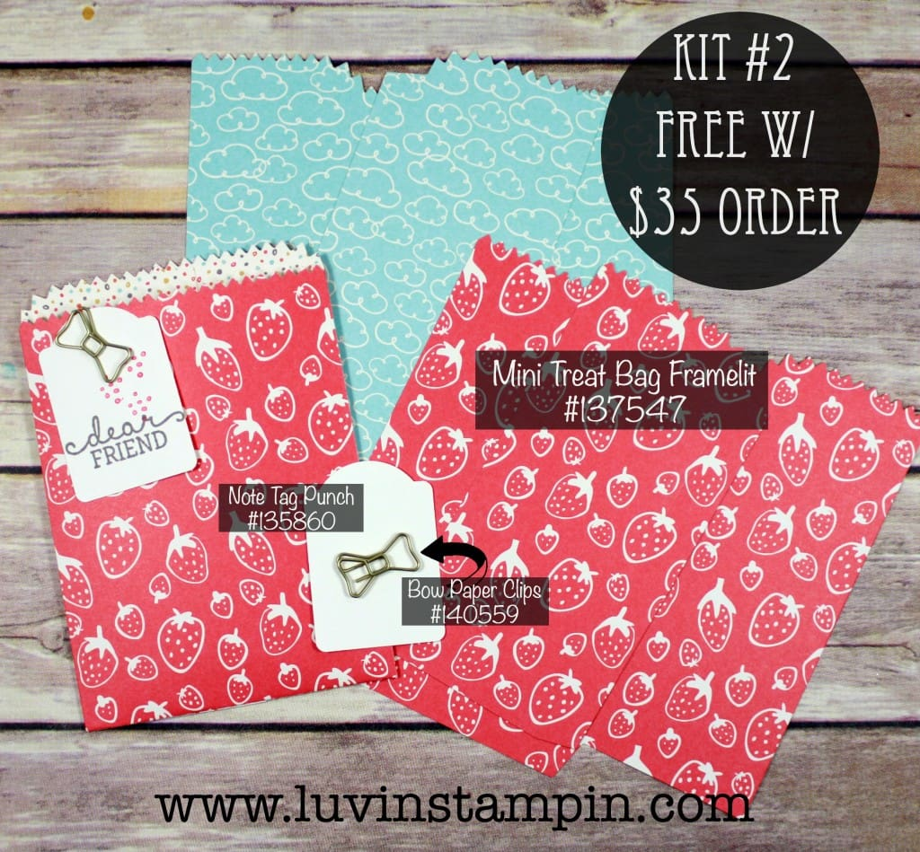 May stamp luver card kit for a minimum order. This kit features the Mini Treat Bag favor from Stampin' UP! Wendy Cranford luvinstampin.com