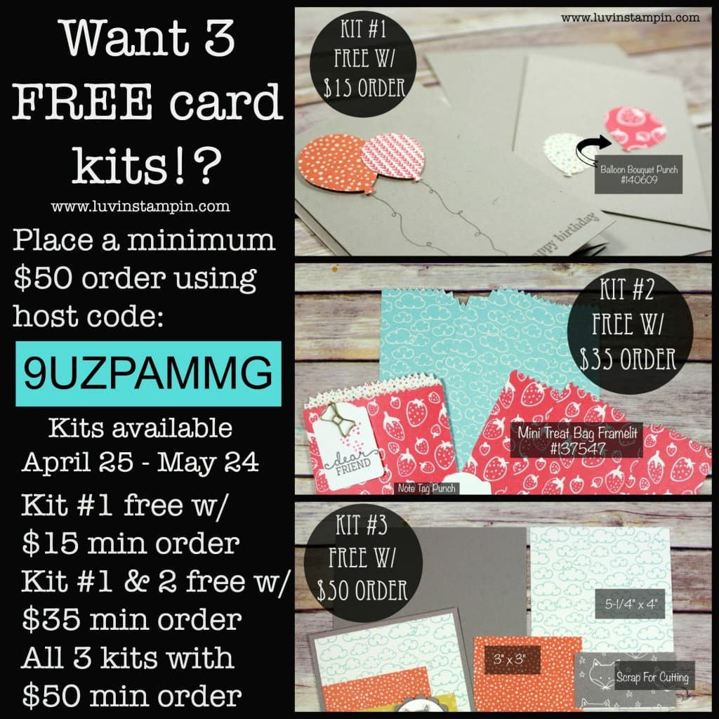 Stamp Luvers Club card kits are available to everyone. Free with orders using the host code. May Kits host code 9UZPAMMG