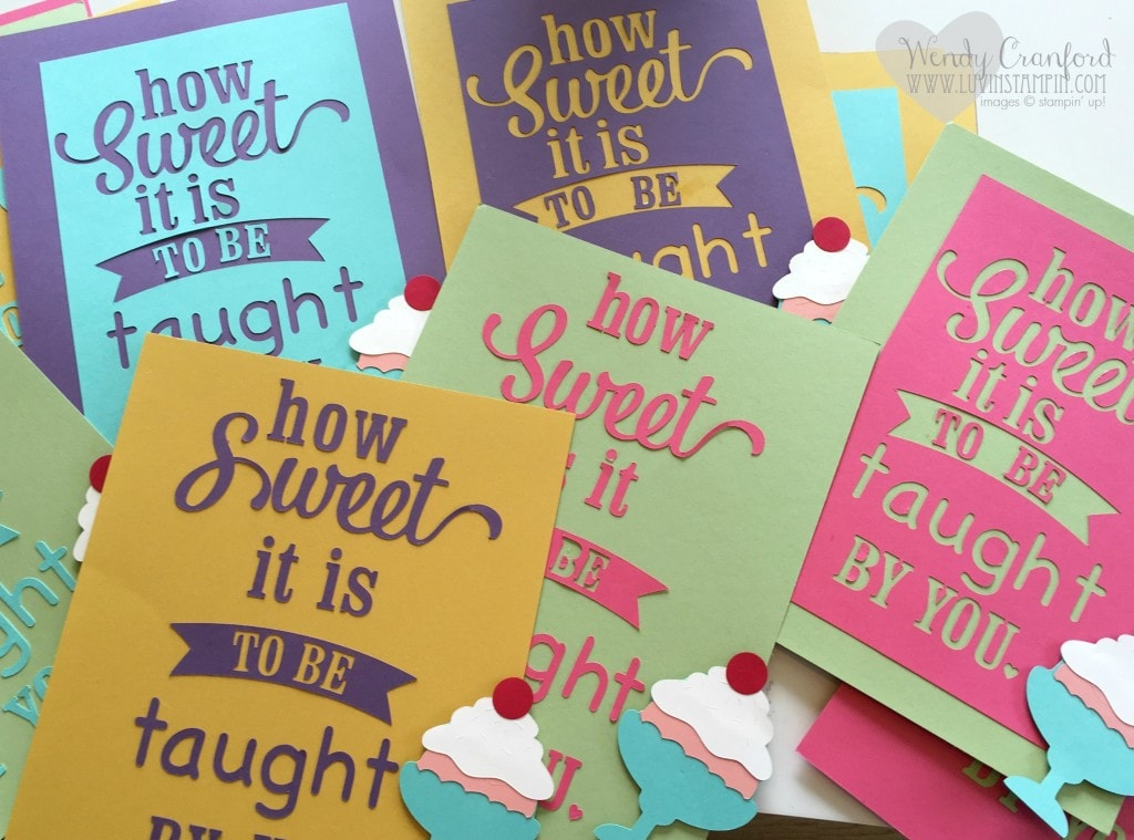 Several ideas on how to create gifts, banners and signs for teacher appreciation week. Wendy Cranford www.luvinstampin.com