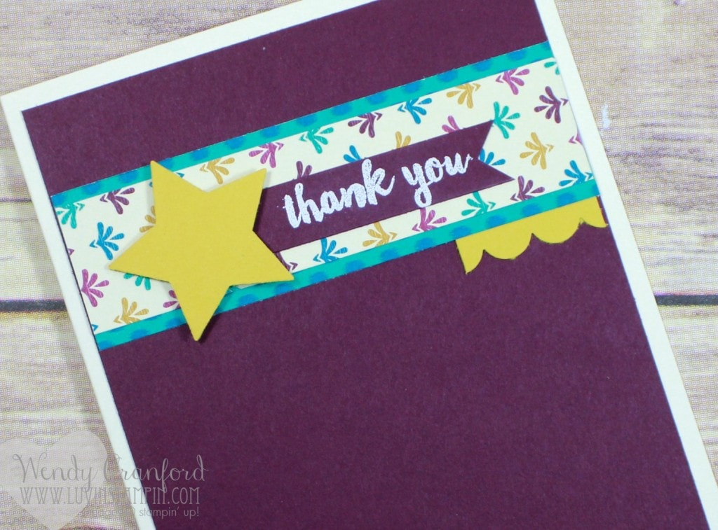 Thank you card created for the #gdp030 project challenge. Wendy Cranford luvinstampin.com