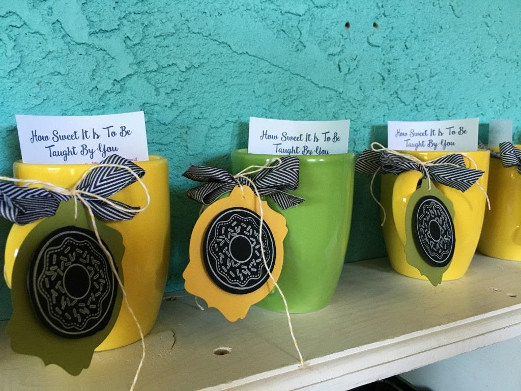 Teacher Appreciation week coffee mug tags and schedules.  Wendy Cranford www.luvinstampin.com