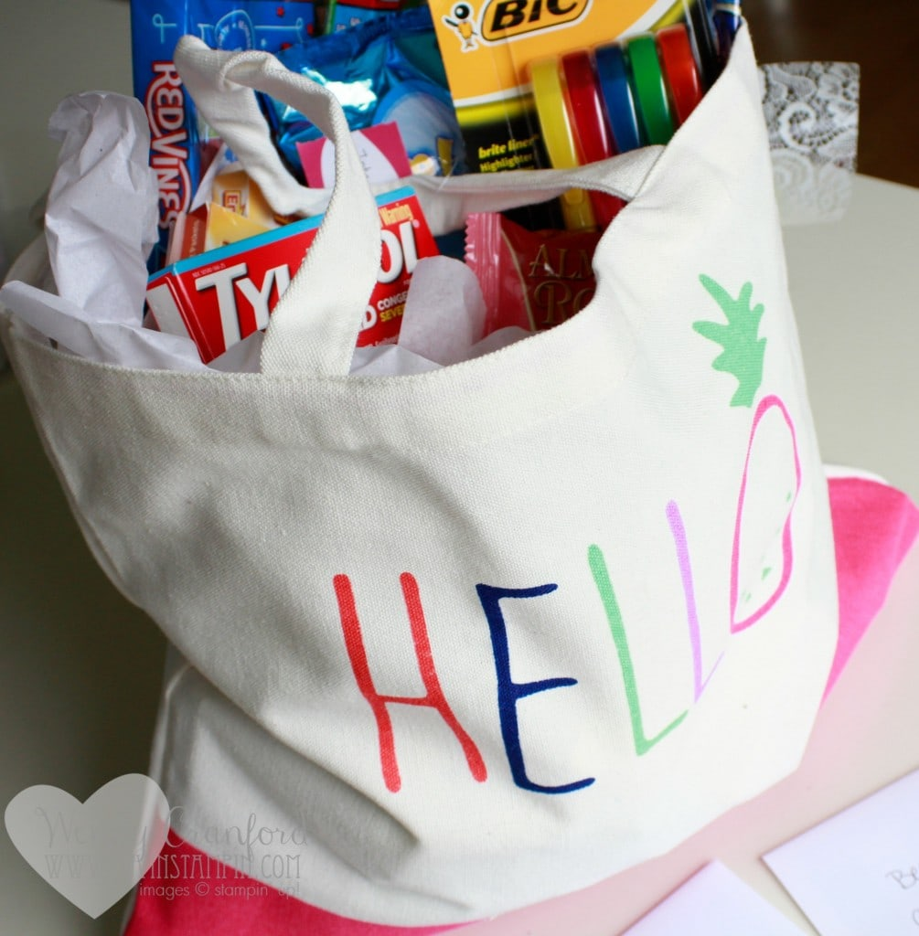 How to create a college survival kit for the high school graduate in your life. Wendy Cranford www.luvinstampin.com