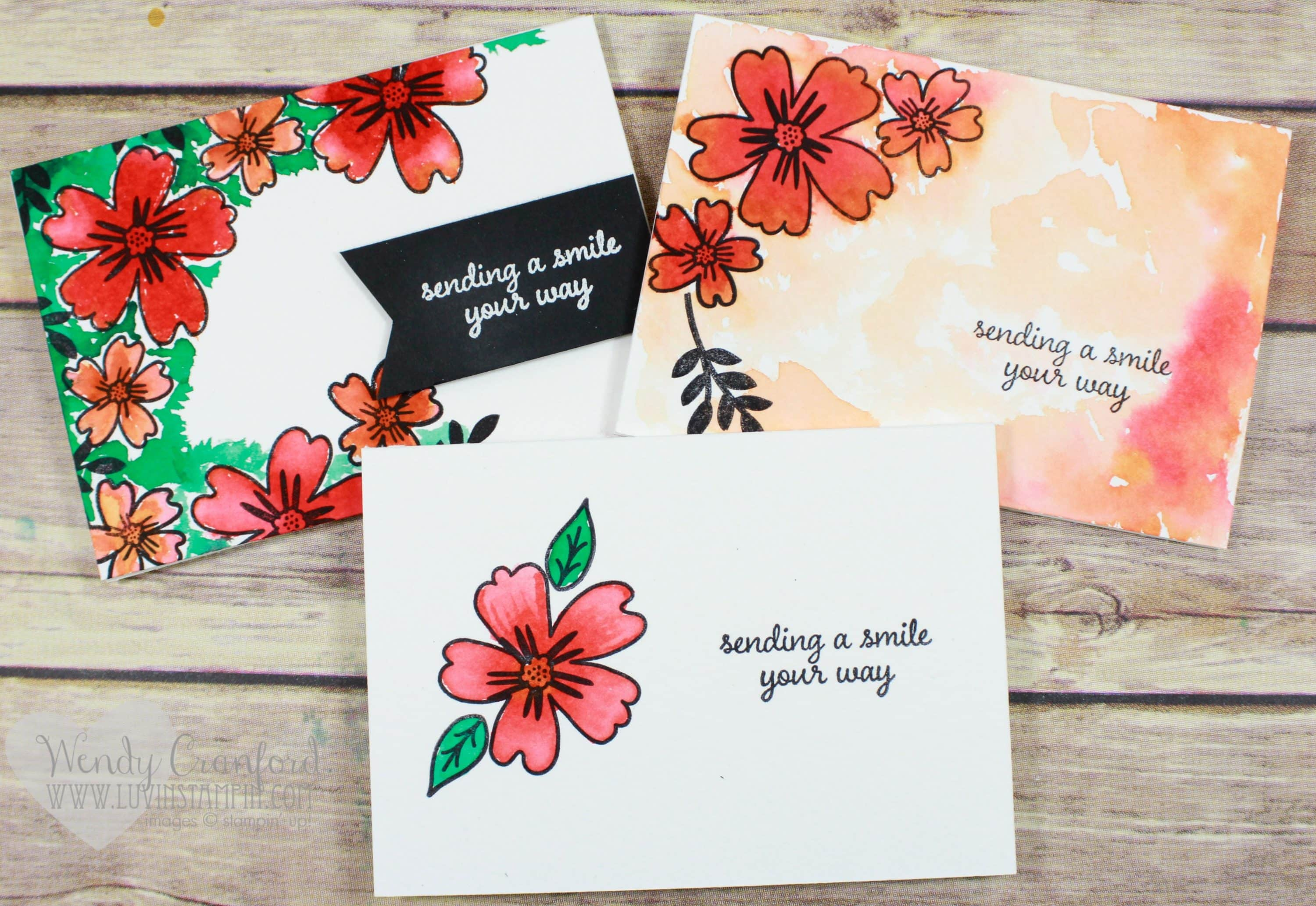 Watercolor Technique Cards Using NEW 2016 2017 Stampin UP Stamp Set Love And