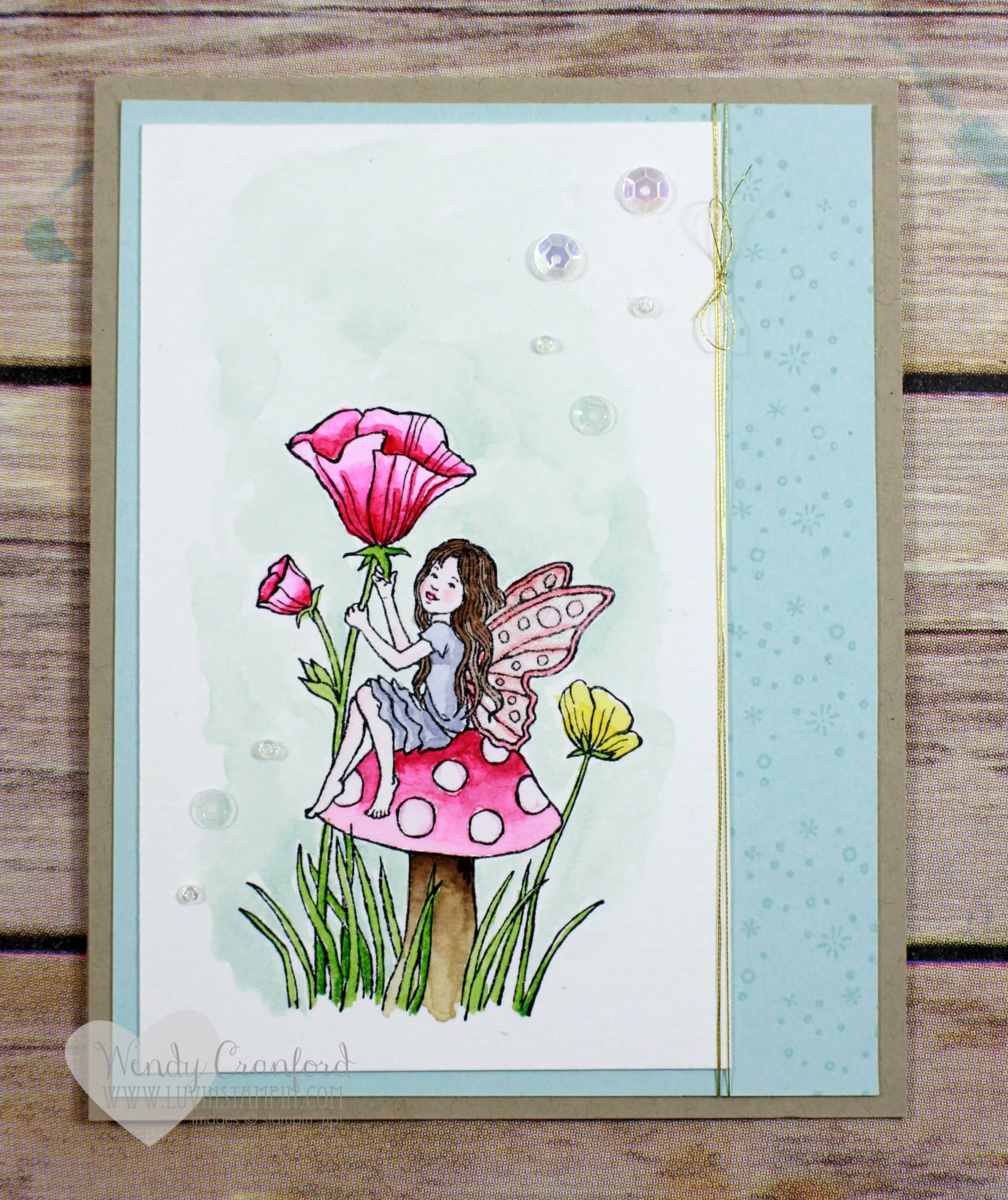 Fairy Celebration watercolor card #GDP040 Wendy Cranford luvinstampin.com