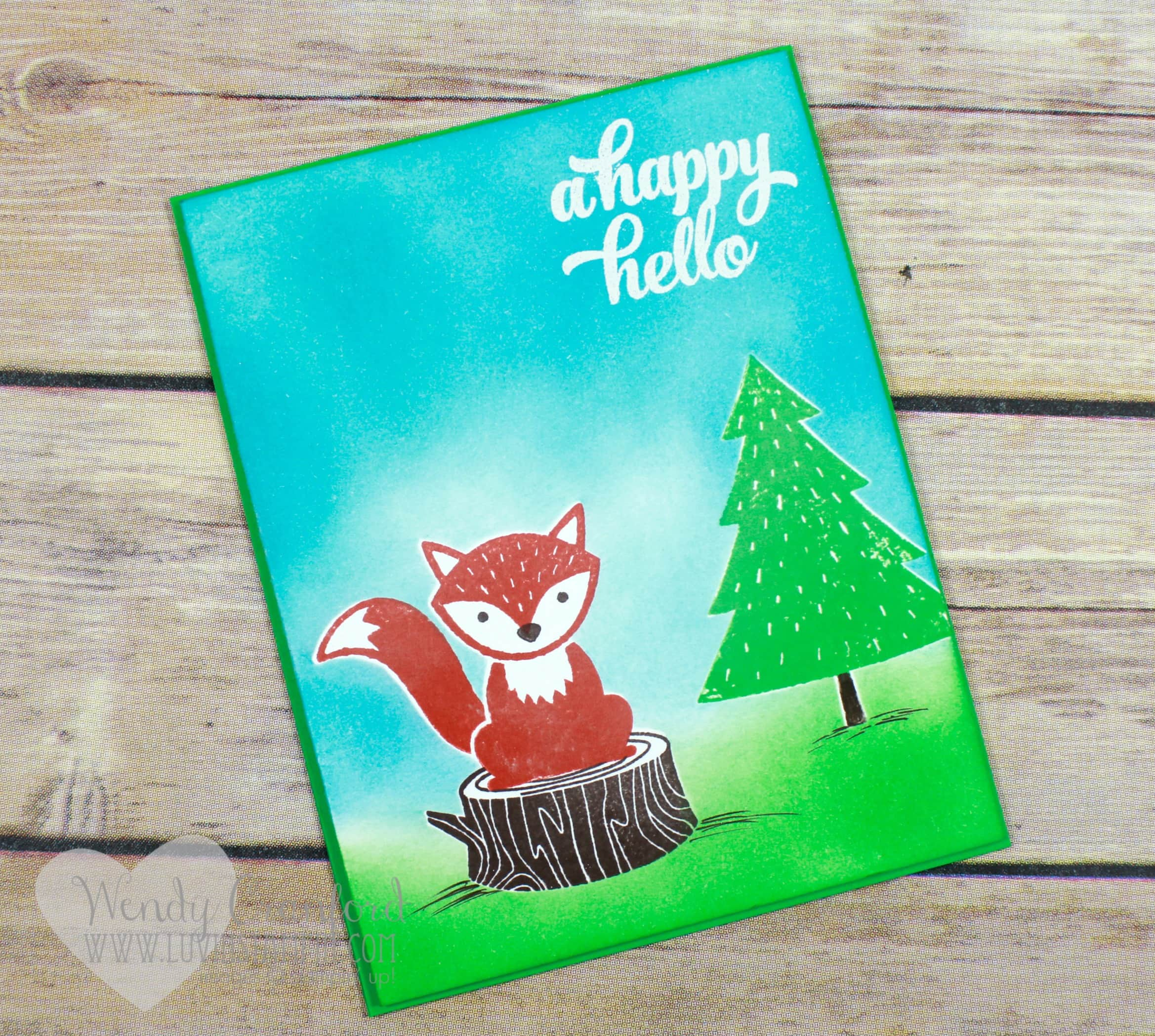 Foxy friends stamp set and A Little Foxy designer series paper pair to make this cute card. Wendy Cranford luvinstampin.com