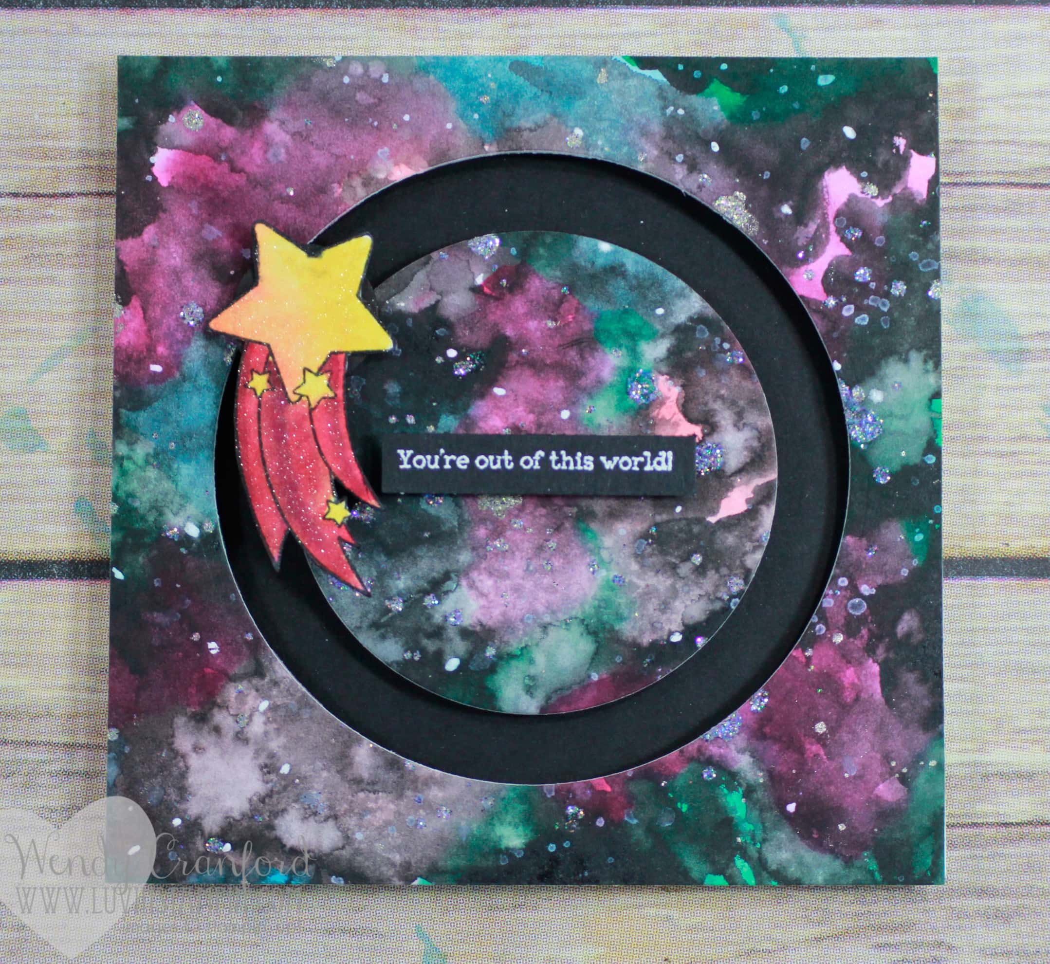 How to create a galaxy background for your card. So simple you will be shocked. Wendy Cranford www.luvinstampin.com
