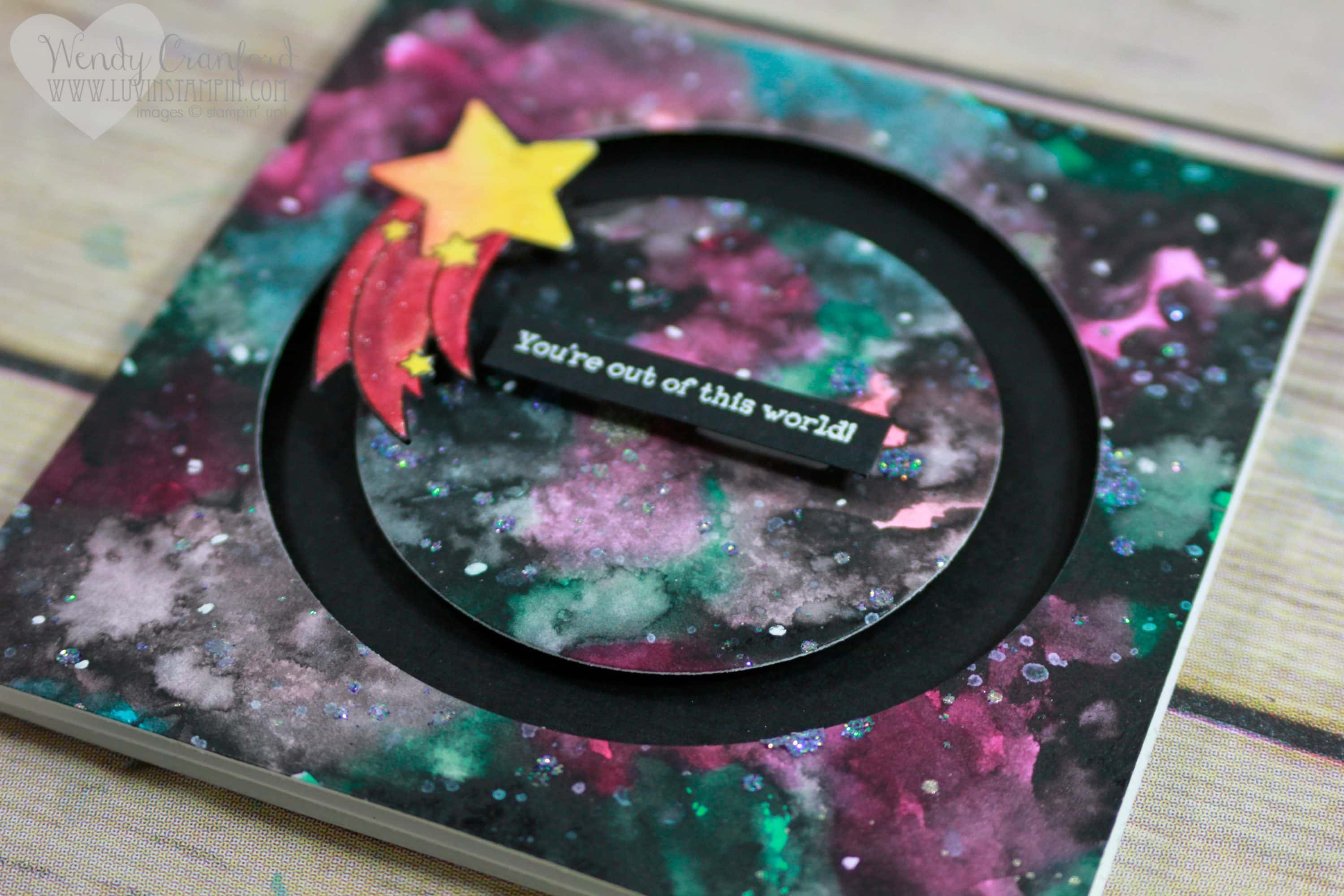 How to create a galaxy background for your card. So simple you will be shocked. Wendy Cranford luvinstampin.com
