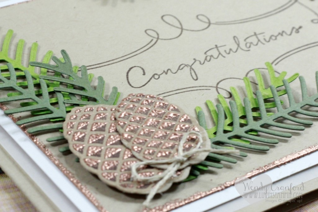 Beautiful wedding card created using the Christmas Pines stamp set from Stampin' UP! Wendy Cranford www.luvinstampin.com