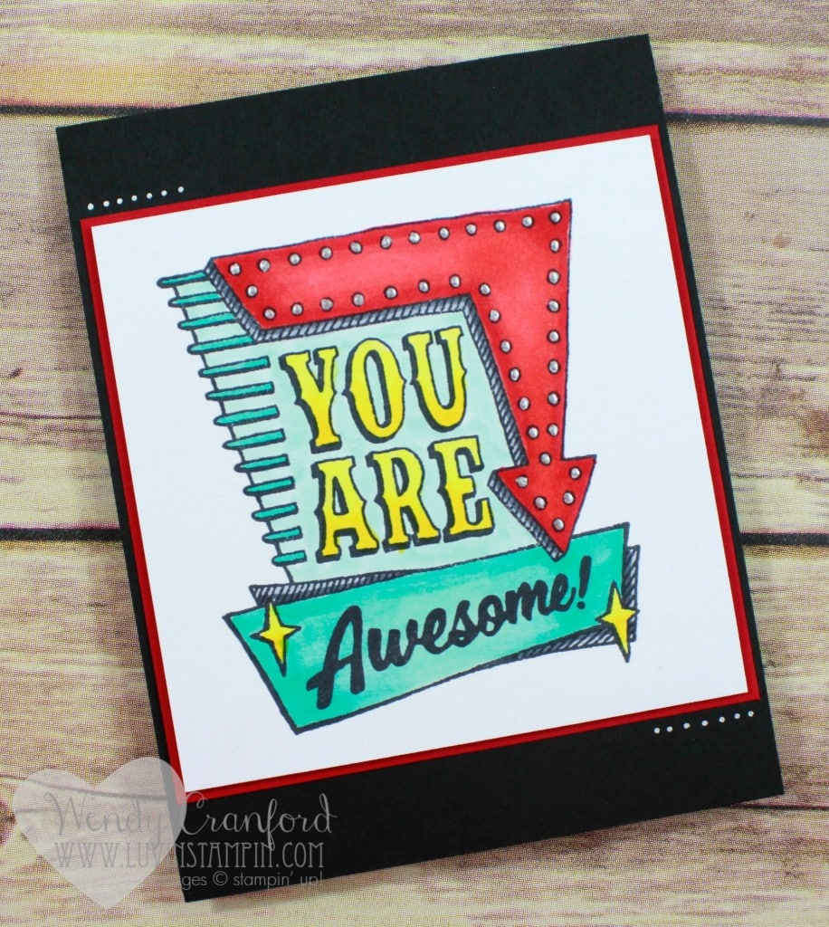 Create a fun 1950's themed card using the Marquee stamp set from Stampin' UP! Wendy Cranford luvinstampin.com