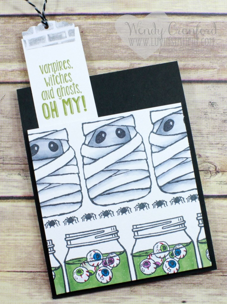 Create this super fun monster bookmark card using the Jar of Haunts stamp set from Stampin' UP! Created by Wendy Cranford www.luvinstampin.com