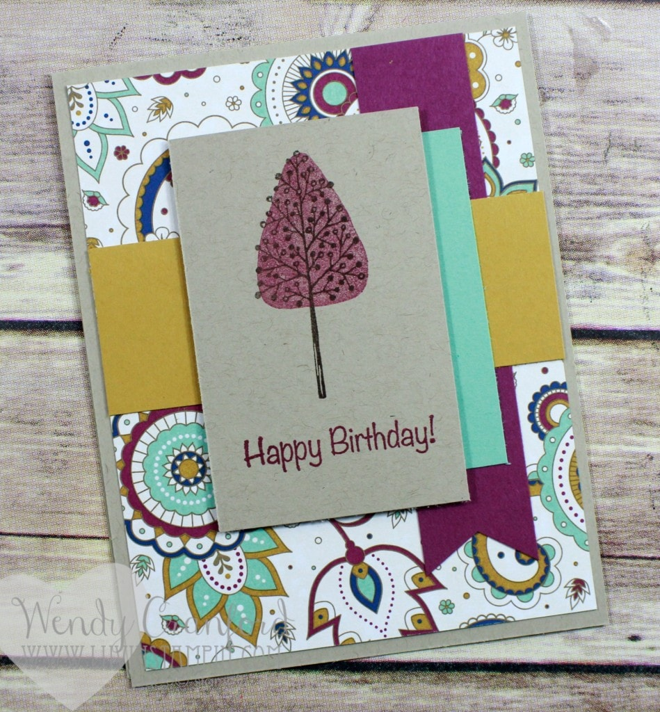 Quick and cute card created using the Totally Trees stamp set and the Shake and Celebrate stamp set from Stampin' UP! for a fall birthday card. Wendy Cranford www.luvinstampin.com