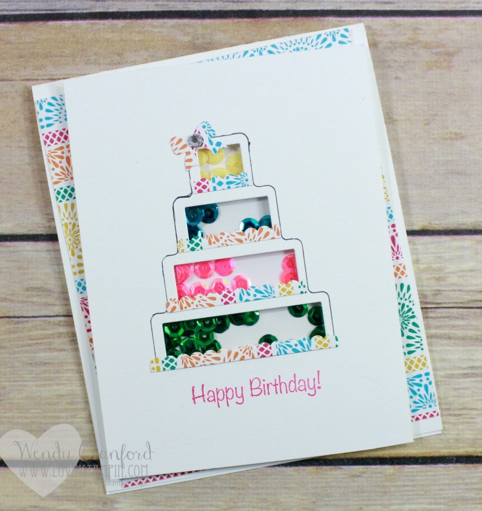 Create an adorable shaker card using the shake and celebrate stamp set and framelits from Stampin' UP! Wendy Cranford www.luvinstampin.com