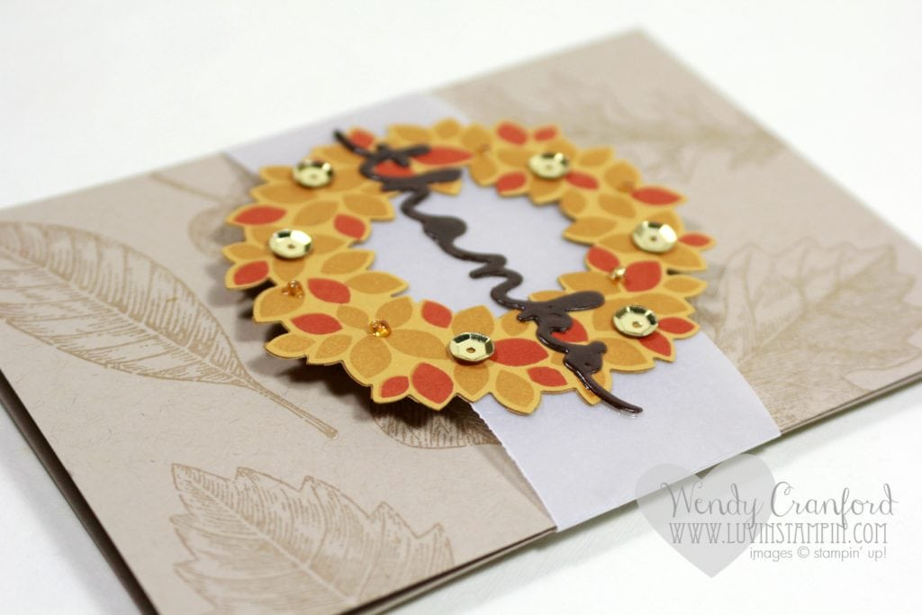 Create a fall wreath thank you card with a fun belly band on your card. Wendy Cranford luvinstampin.com
