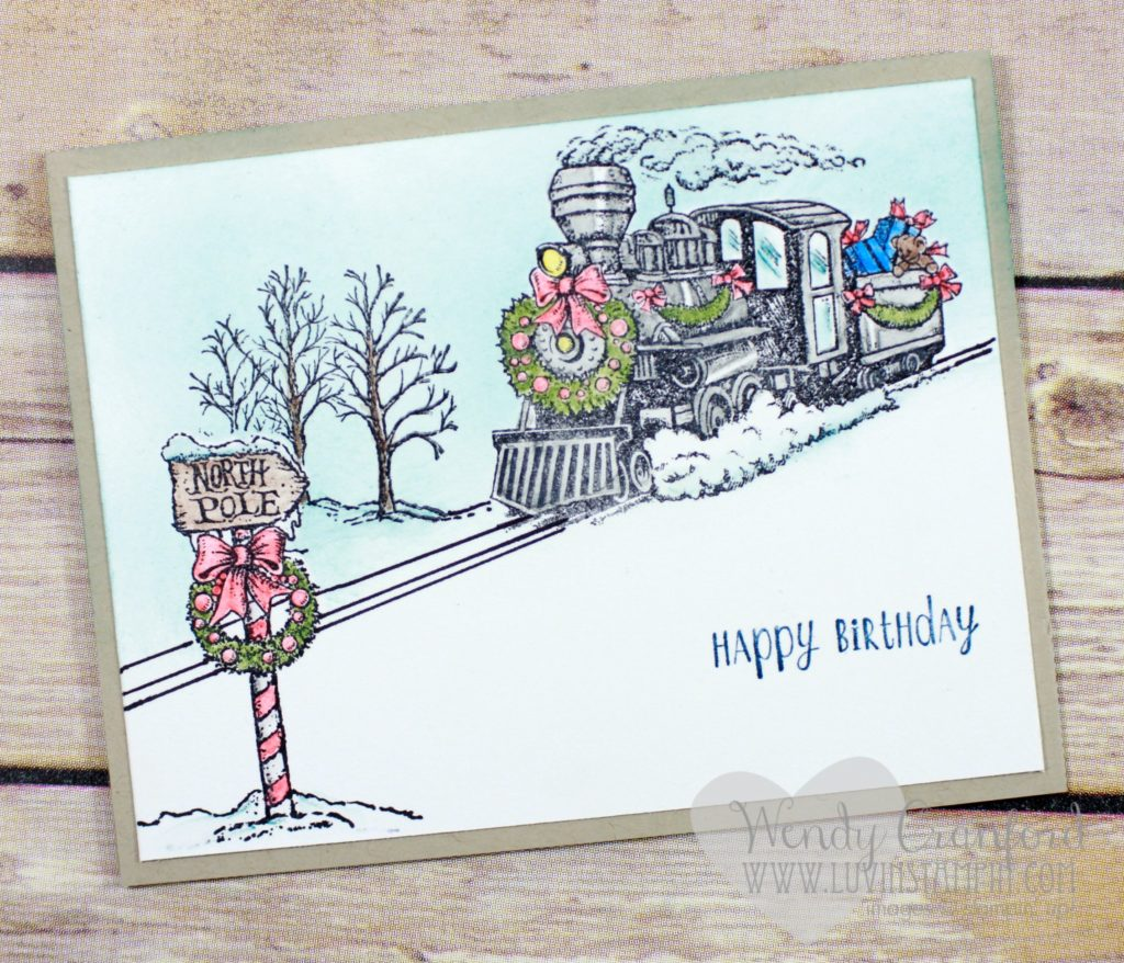 Ink blending technique for wintery night sky on christmas train card Wendy Cranford www.luvinstampin.com