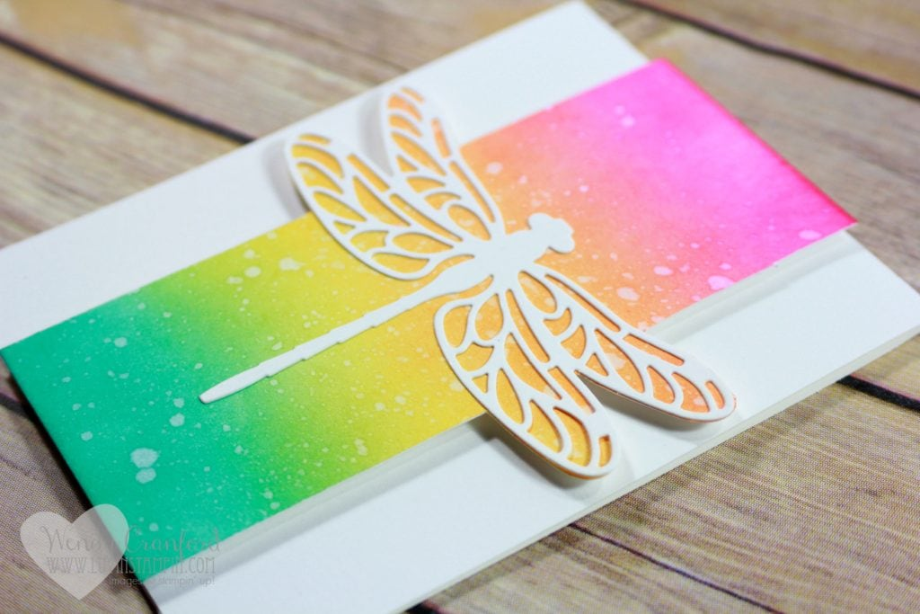 Create a beautiful card using a fun ink blending technique and dragonfly dreams die cut Wendy Cranford www.luvinstampin.com