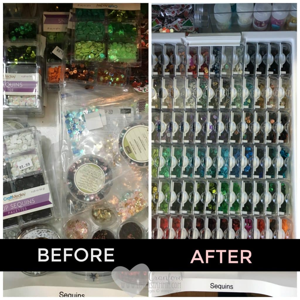 How to organize your sequins.  Maximizing space. Wendy Cranford www.luvinstampin.com