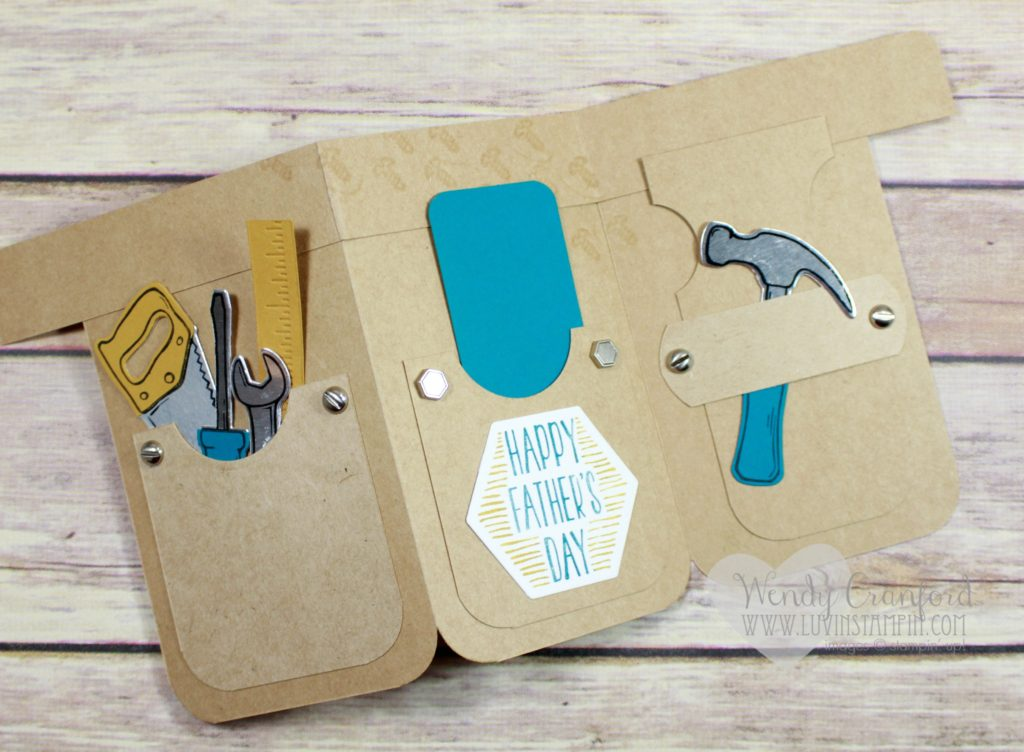 Tool belt card created using the Nailed It bundle from the Stampin' UP! Occasions catalog Wendy Cranford www.luvinstampin.com