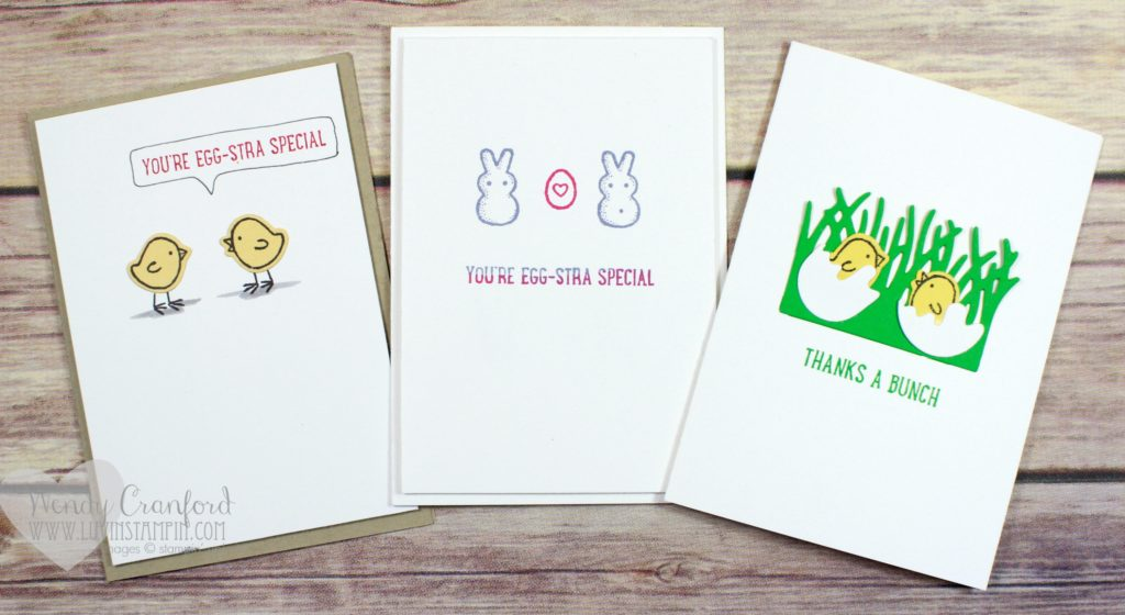 Super simple easter note cards featuring Basket Bunch bundle from Stampin' UP! Wendy Cranford www.luvinstampin.com
