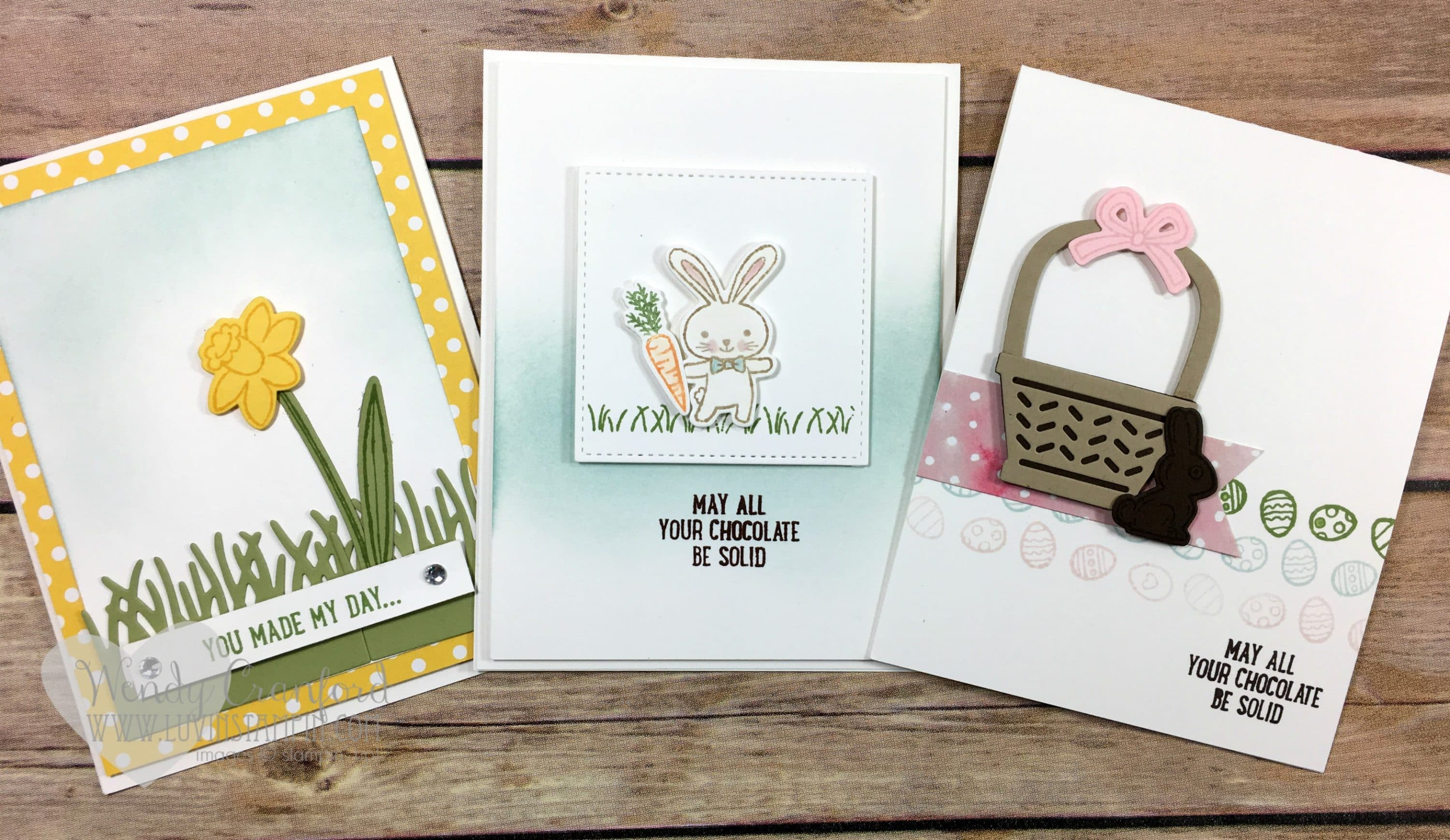3 Easter Cards Feat Basket Bunch Bundle From Stampin Up Luvin