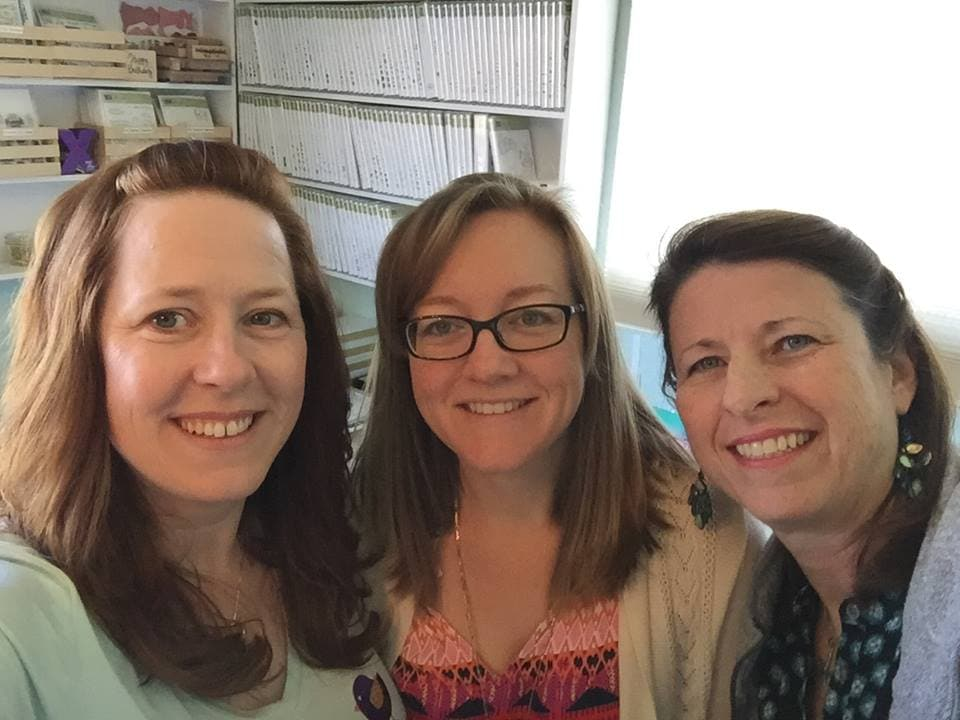 Rose-Ellen Eastman, myself and Cathy Williams visiting in my craft room.
