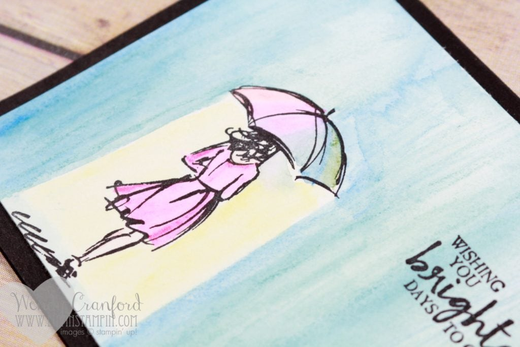 Create a beautiful rain background using the watercolor pencils from Stampin' UP! Wendy Cranford www.luvinstampin.com