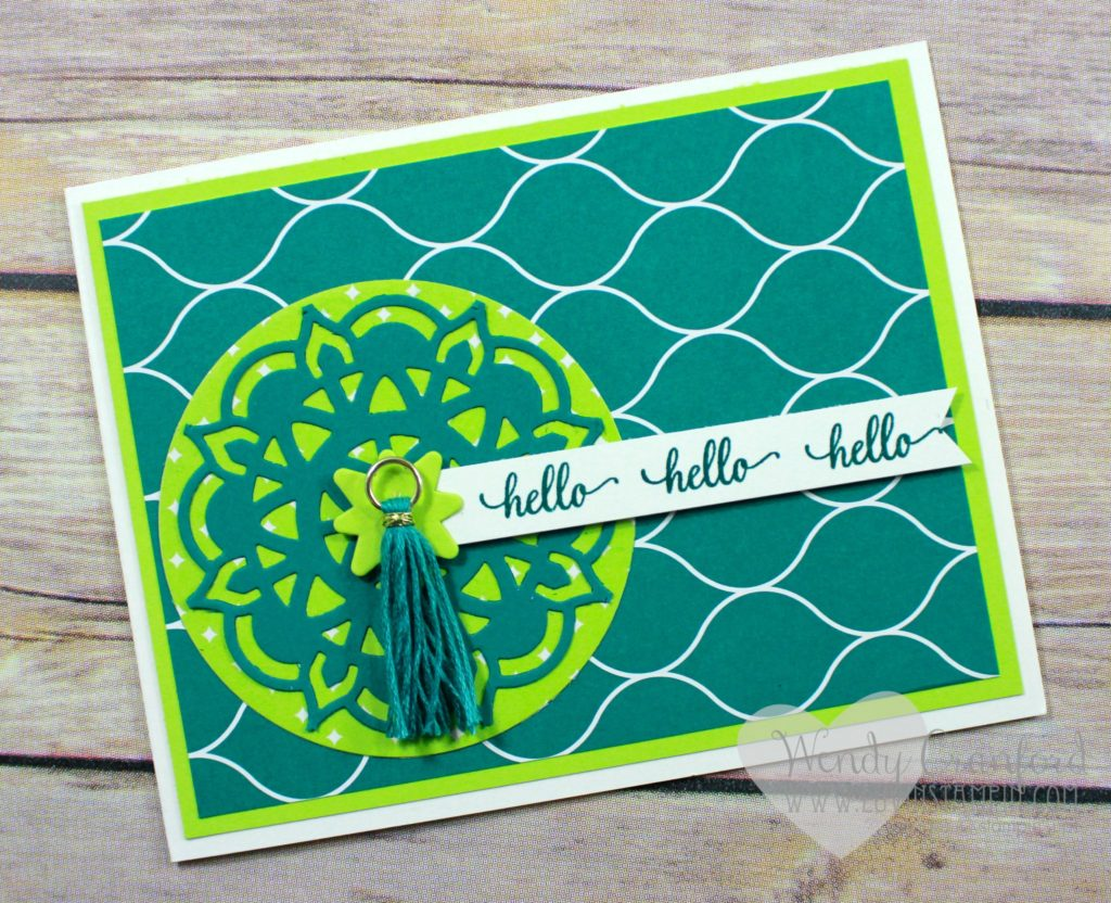 Bright and bold hello card featuring the new Eastern Palace Suite from Stampin' UP! Wendy Cranford www.luvinstampin.com