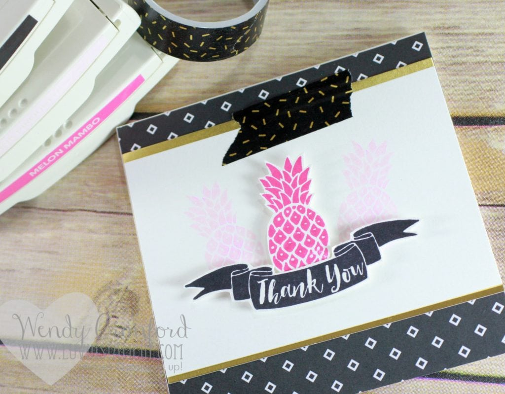 Fun thank you card featuring the Pop Of Paradise stamp set Wendy Cranford www.luvinstampin.com
