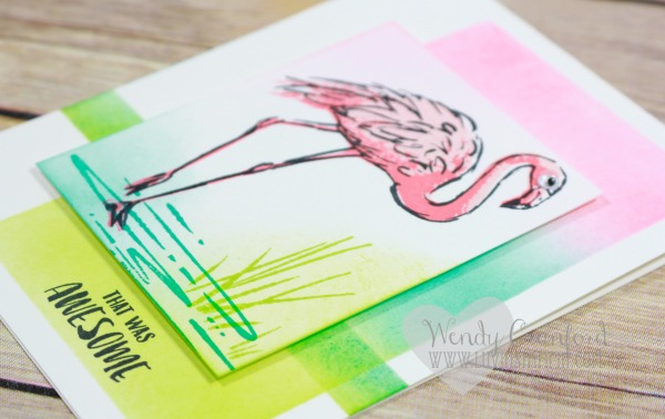 I used the new Fabulous Flamingo stamp set from Stampin' UP! to create this beautiful card for my team members. Wendy Cranford www.luvinstampin.com