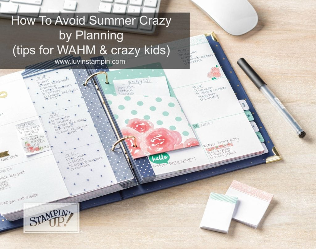 How to avoid going crazy this summer with your kids. Tips for WAHM and crazy kids Wendy Cranford www.luvinstampin.com