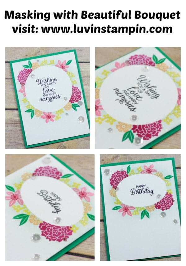 Create a gorgeous one layer card using the beautiful bouquet stamp set. See details and video on my blog www.luvinstampin.com Wendy Cranford