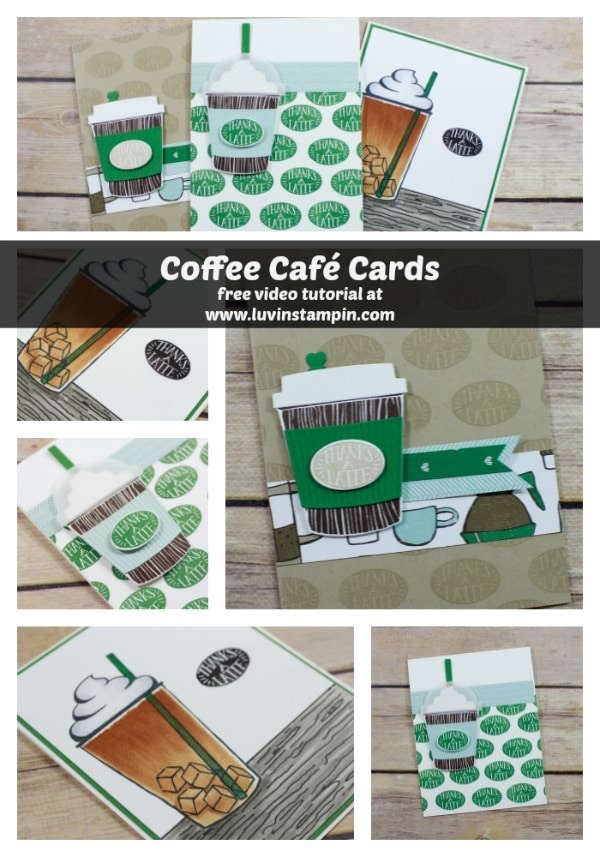 2 cards in 10 minutes created with the coffee cafe bundle from Stampin' UP! Wendy Cranford www.luvinstampin.com