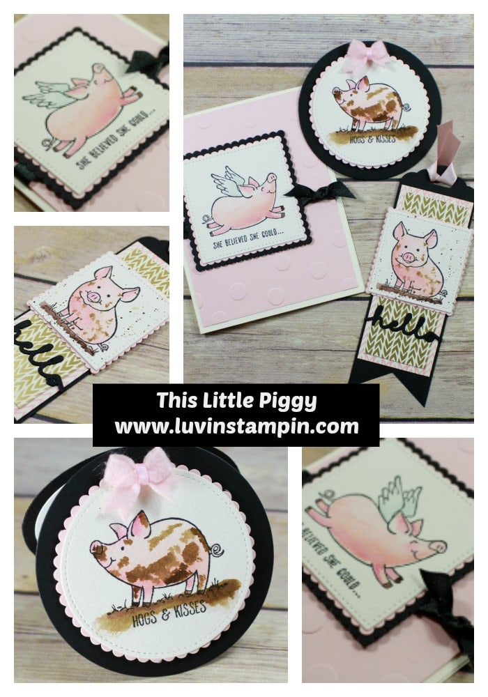 Watercoloring tips for card makers featuring This Little Piggy stamp set from Stampin' UP! Wendy Cranford www.luvinstampin.com