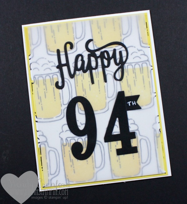 Beer mug masculine birthday card Wendy Cranford luvinstampin.com