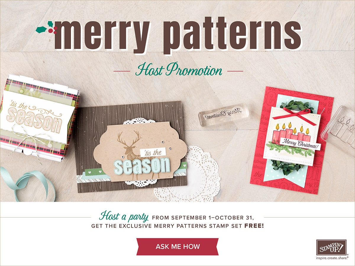 Merry Patterns Stamp set from Stampin' UP! Free with a $300 order or a $300 party. www.luvinstampin.com