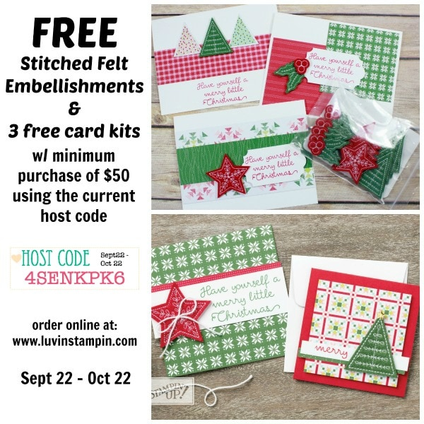 Free stitched felt embellishments and 3 free card kits Wendy Cranford luvinstampin.com